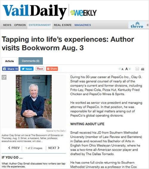 Tapping into life's experiences: Author visits Bookworm Aug. 3 VailDaily.com, article from July 31, 2017